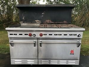 Large Wolf Commercial Natural Gas Stainless Steel Double Oven Stove Griddle
