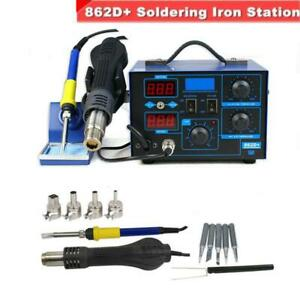 New 2in1 862d Smd Soldering Iron Hot Air Rework Station W 4 Nozzles 110v 700w
