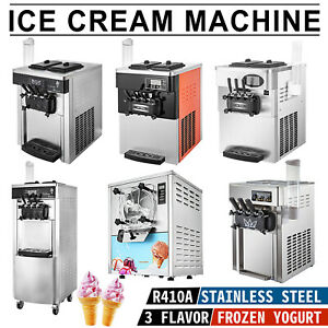 Commercial Mix Flavor Ice Cream Machine Yogurt Soft Hard R410a 3 Flavor 110v