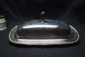 Silver Plated Butter Dish With Glass Insert Wm Rogers 887 Used