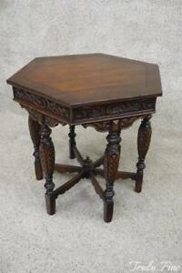 Antique Polygon Parlor Hall Lamp Side End Table Stand Victorian Solid Oak