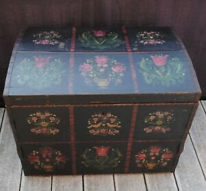 Antique Scandinavian Norwegian Wooden Trunk Chest Rosemaling Painted