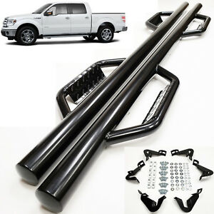 For 2009 2014 Ford F150 F 150 Super Crew Cab Black 3 Side Nerf Bar Dropped Step