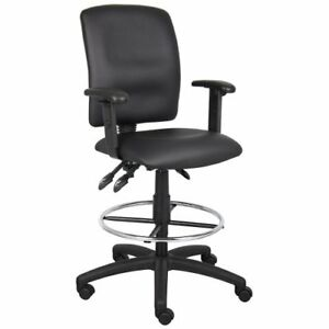 Drafting Stool With Adjustable Arms In Faux Leather