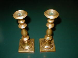 Pair Of Antique Brass Candlesticks That Screw Into The Bases 2 1 2 Pounds Each
