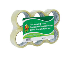case Of 6 Packs Duck Brand 1 88 W X 54 6 Yd Packaging Tape Clear 6 Per Pack