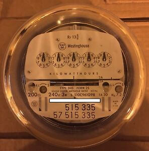 Westinghouse Watthour Meter Kwh D4s 5 Pointer Style 4 Lugs 240v 200a Fm 2s