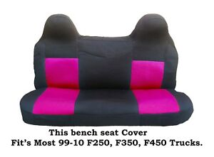 Black Hot Pink Mesh Bench Seat Cover Fit Ford F 250 F 350 F 450 99 08 Truck