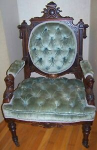 Eastlake Victorian Carved Chair Original Finish Walnut Mahogany