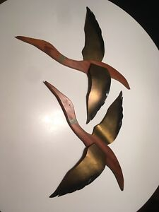 Matching Pair Wood Metal Ducks Wall Art Mid Century Modern