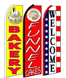 Bakery Funnel Cakes Welcome King Size Swooper Flag Pack Of 3