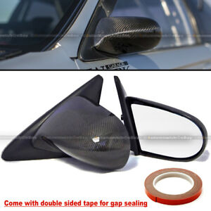 Fit 92 95 Civic 2 3dr Carbon Fiber Powered Adjustable Spoon Style Side Mirror