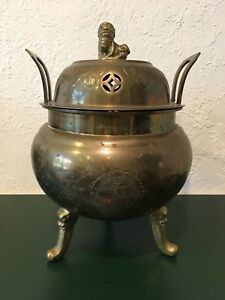 Antique Chinese Huge Tripod Bronze Brass Foo Dog Dragon Censer Incense Burner
