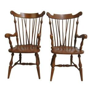 Pair Ethan Allen Windsor Maple Dining Room Arm Chairs Heirloom
