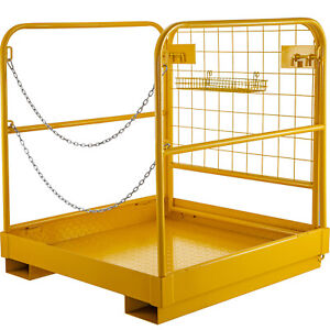 36 36 Forklift Work Platform Safety Cage Built in Chains Aerial Fence Yellow