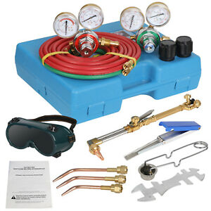Oxy Acetylene Welding Cutting Torch Kit Gas Welder Set 15ft Hose Goggles Case