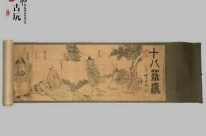 Old Chinese Silk Paper Painting Buddhist Eighteen Arhats Scroll Painting