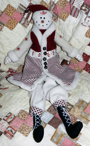Nice Primitive Red White Snowman Doll Christmas Snowmen