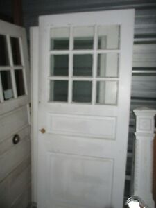 Vintage Exterior Wood Door Measures Approx 36 X 83 9 Panes Glass Large Sq