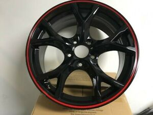 18 Type R Style Black With Red Lip Alloy Rims Wheels Fits Honda Civic Si Ex Exl