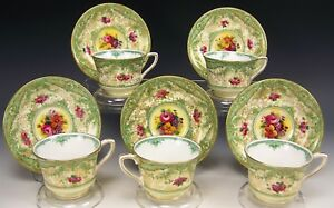5 Royal Worcester Hand Painted Flower Gold Encrusted Demitasse Cups