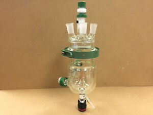 Chemglass 2193 500ml Jacketed Process Reactor And 5 neck 24 40 St Lid Seal Clamp