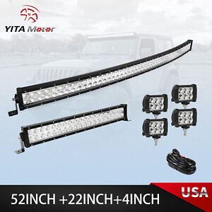 52inch Curved Led Light Bar 22in 4 Pods Offroad Suv Atv For Ford Jeep 54