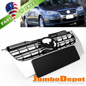 Us 1x Front Bumper Chrome Abs Center Grille Fit For Vw Jetta Tdi Mk5 2005 2010
