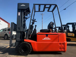 Linde E16 02 3500lb Cushion 3 Wheel Electric Forklift Lifttruck