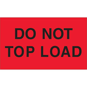 Tape Logic Labels do Not Top Load 3 X 5 Fluorescent Red 500 roll Dl2301