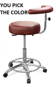 New Galaxy 1065 Round Seat Dental Assistant s Hygienist Stool Chair W Foot Rest
