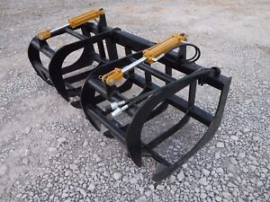 Skid Steer Loader Attachment 72 Dual Cylinder Root Grapple Bucket Free Ship