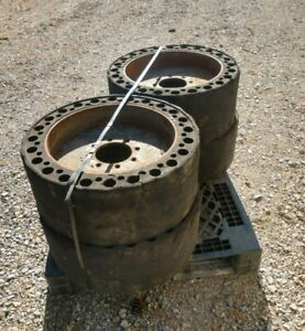Used Solid Skid Steer Tires 12x16 5 Bobcat Case Cat Caterpillar Set Of4 Can Ship
