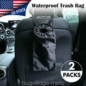 Trash Bag Car Can Litter Garbage Keeper Back Seat Headrest Black Wastebasket