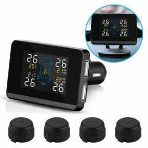 Car Truck Wireless Tpms Lcd Tire Tyre Pressure Monitor System 4 External Sensors