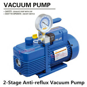 Rotary Vane Vacuum Pump 2 Stage 4 24cfm 1 2hp For Air Conditioning Refrigerator