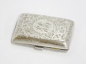 3 1 8 In Sterling Silver Gilded Interior Antique English Floral Cigarette Case
