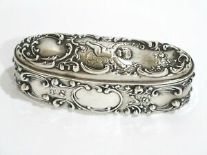 4 3 8 In Sterling Silver Mauser Antique Cigar Shaped Cupid Floral Box