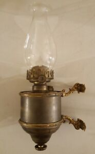 Antique 19th C Victorian Wall Sconce Bracket With Removable Oil Lamp P