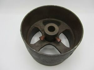 Vintage Antique Cast Iron 7 3 4 Flat Belt Pulley Line Shaft Gas Hit Miss Engine