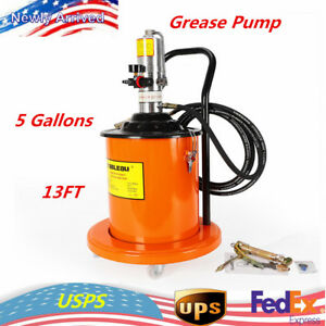 5 Gallons Air Operated High Pressure Grease Pump 13ft Hose Gun Rigid Tool Pail
