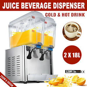 18l X 2 Juice Beverage Dispenser Fruit Milk Juicer 9 5gal Cold Hot Drink