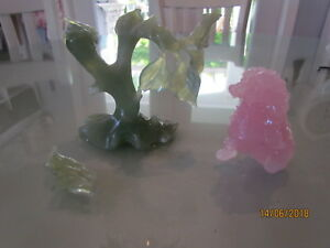 Vintage Carved Jade Jadeite Tree Figurine Pink Foo Dog Figurine For Repair