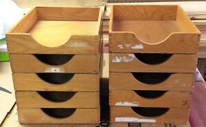 10 Vintage Oak Desk Trays Most With Box Joint Construction