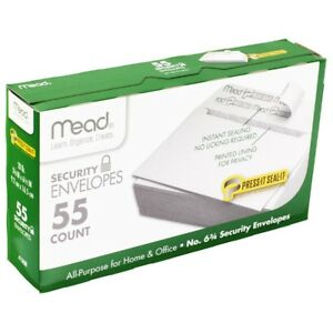 Mead Security Envelopes Press it Seal it 6 3 4 55 Count 75030 3 5 8 X 6 1 2