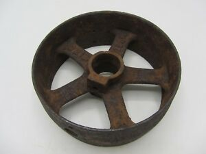 Vintage Antique Cast Iron 7 7 8 Flat Belt Pulley Line Shaft Gas Hit Miss Engine