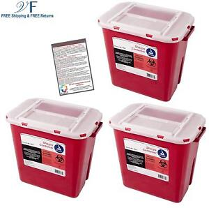 Sharps Container 2 Gallon Plus Vakly Biohazard Disposal Guide 3 Pack