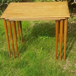 Mid Century Danish B C M Bler Vejle 3 Nesting Tables In Teak
