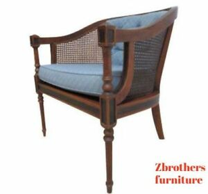 Vintage Ethan Allen French Regency Cane Living Room Lounge Chair