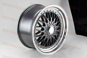 Four 19 Staggered Gunmetal Rs Style Wide Lip Rims Fits Vw Gti Gli Jetta Passat